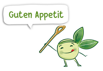 Erbse Pea, das BioCool-Maskottchen, wünscht guten Appetit