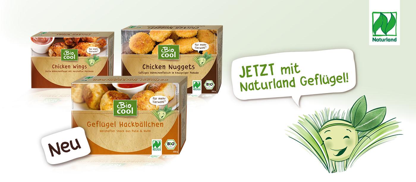 BioCool Hühnchengerichte Chicken Wings, Chicken Nuggets und Geflügel Hackbällchen - jetzt mit Naturlandzertifizierung