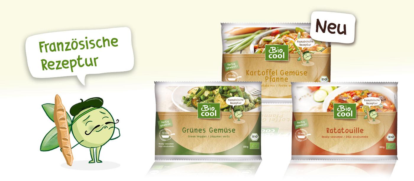 Pea, das BioCool-Maskottchen und die Verpackungen der drei neuen Gemüsepfannen Grünes Gemüse, Ratatouille und Kartoffel Gemüse Pfanne